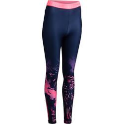 Legging+voor+cardiofitness+dames+marineblauw+tropische+roze+prints+500+Domyos+1272079