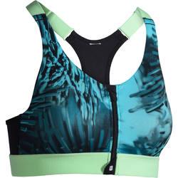 Sportbeha+900+zip+voor+cardiofitness+tropical+print+blauw+Domyos+1278777